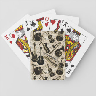 Sheet Music and Instruments Black/Gold ID481 Playing Cards