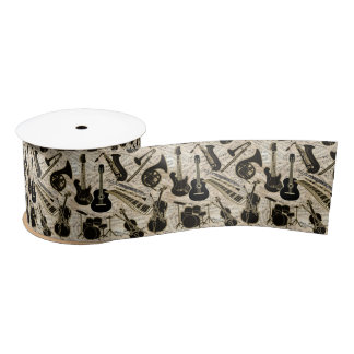 Sheet Music and Instruments Black/Gold ID481 Satin Ribbon