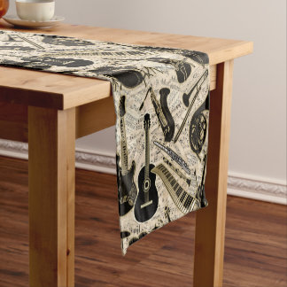 Sheet Music and Instruments Black/Gold ID481 Short Table Runner