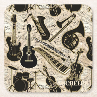 Sheet Music and Instruments Black/Gold ID481 Square Paper Coaster