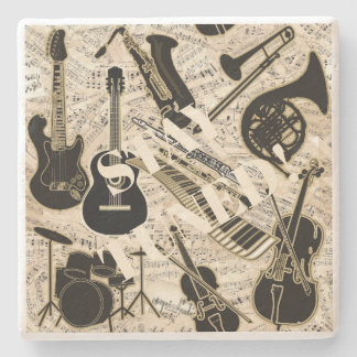 Sheet Music and Instruments Black/Gold ID481 Stone Coaster