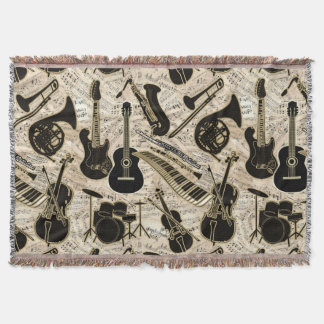 Sheet Music and Instruments Black/Gold ID481 Throw Blanket