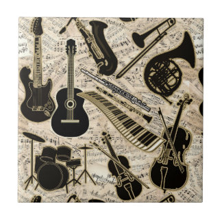 Sheet Music and Instruments Black/Gold ID481 Tile