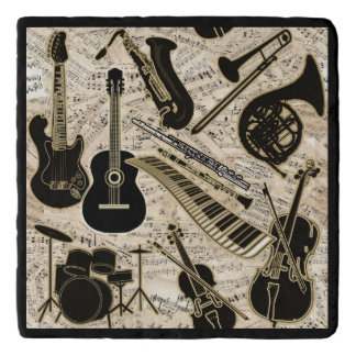 Sheet Music and Instruments Black/Gold ID481 Trivet
