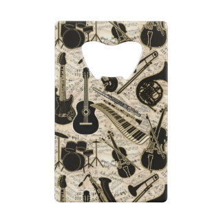 Sheet Music and Instruments Black/Gold ID481 Wallet Bottle Opener