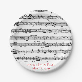 sheet music anniversary party paper plate