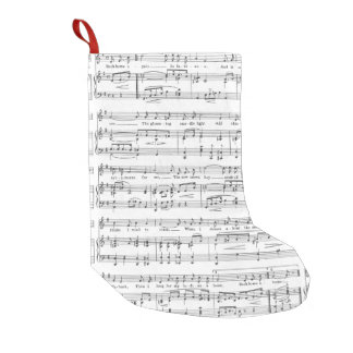 Sheet Music Black and White Pattern Small Christmas Stocking