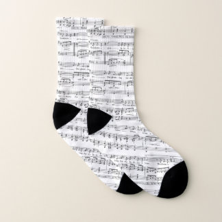 Sheet Music Black and White Pattern Socks