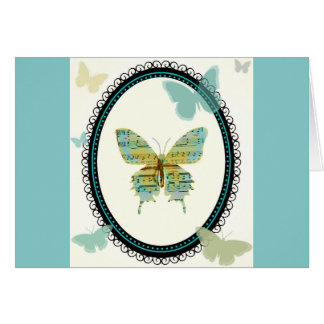 Sheet Music Butterfly BLANK CARD