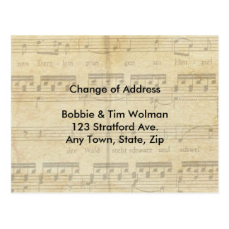 Sheet Music Change of Address Card Postcard