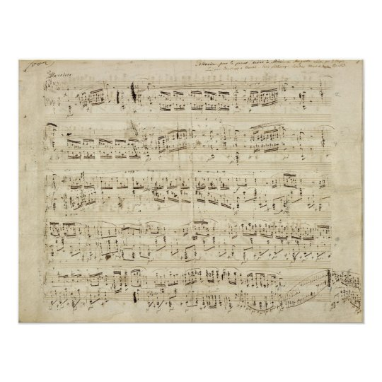 Sheet Music on Parchment Handwritten in Ink Poster