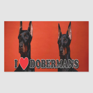 Sheet of 4 -  I Love Doberman Stickers