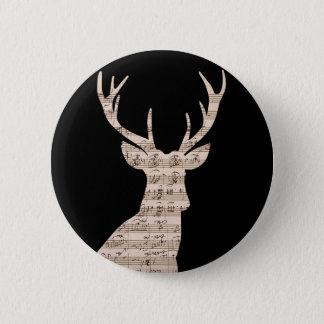 Sheetmusic reindeer 2 inch round button