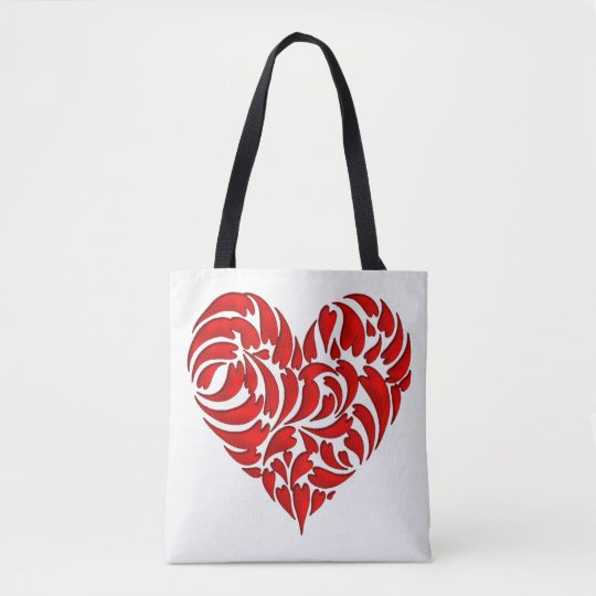 Sheets in heart tote bag