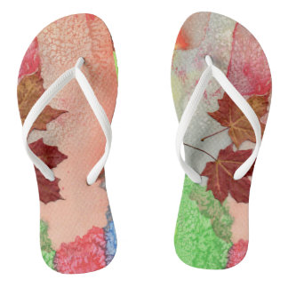 Sheets of autumn flip flops