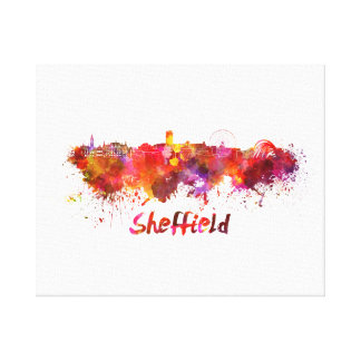 Sheffield skyline in watercolor canvas print