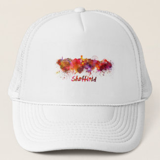 Sheffield skyline in watercolor trucker hat