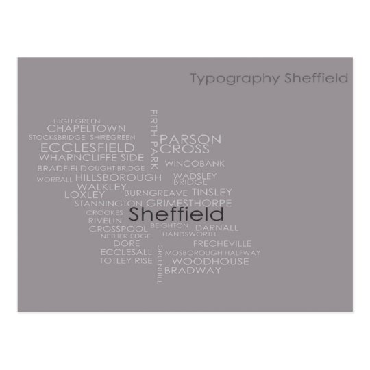 Sheffield Typography Map Postcard
