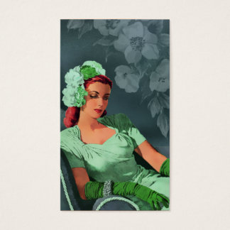 Sheila - 1940s Evening Wear in Green and Teal Business Card