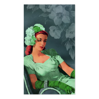Sheila - 1940s Evening Wear in Green and Teal Business Card Template