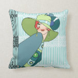 Shelby, 1920s Lady in Aqua and Teal Throw Pillows