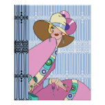 Shelby, 1920s Lady in Blue and Pink Poster