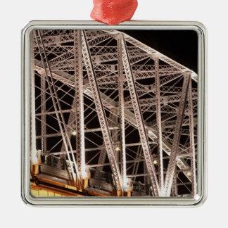 Shelby Street Bridge, Nashville, Tennessee, USA Silver-Colored Square Ornament