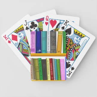 shelf books library reading bicycle playing cards