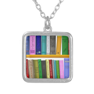 shelf books library reading silver plated necklace
