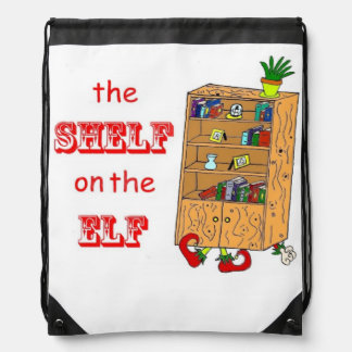 Shelf on the Elf Holiday Drawstring Backpack