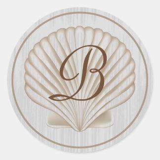 Shell B Monogram Classic Round Sticker