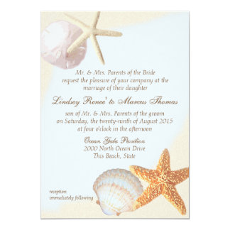 Shell Beach Starfish Wedding Card
