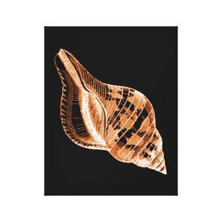 Shell black coastal nautical watercolor canvas print