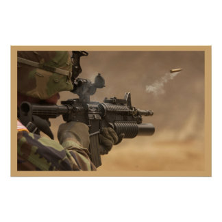 Shell casing flies out M-4 rifle Poster