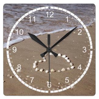 Shell Heart on Sand Beach Square Wall Clock