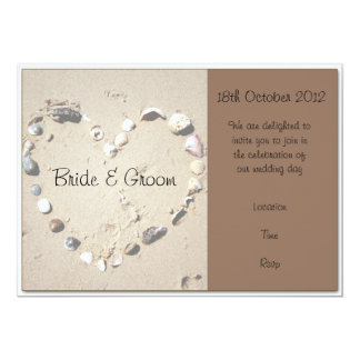 Shell Love Heart Brown Wedding Invitation