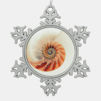 Shell Of Life Snowflake Pewter Christmas Ornament