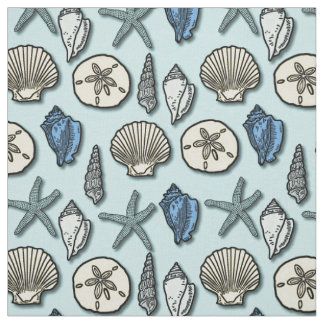 Shell Starfish Sea Nautical Pattern Pretty Blue Fabric