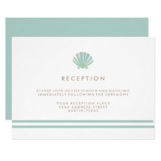 Shell Watercolor Aqua Wedding Reception Card