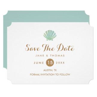 Shell Watercolor Aqua Wedding Save The Date Card