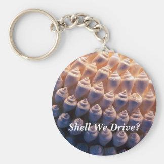 Shell We Drive? Basic Round Button Keychain