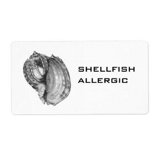 Shellfish Allergic label Shipping Label