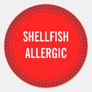 SHELLFISH ALLERGIC ROUND STICKER