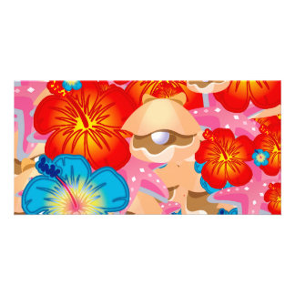Shells and hibiscus photo card template