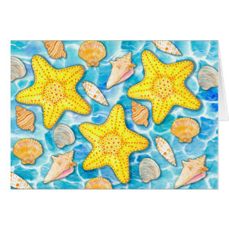 Shells and Starfish on Watercolor Ocean Background Card