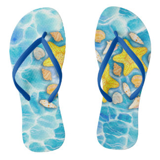 Shells and Starfish on Watercolor Ocean Background Flip Flops