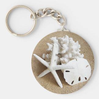 Shells in the Sand Basic Round Button Keychain