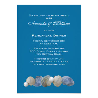 Shells on Blue Rehearsal Dinner Invitations