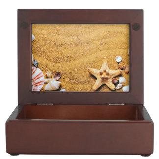 Shells on the beach keepsake boxes