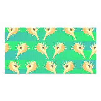 Shells pattern photo card template